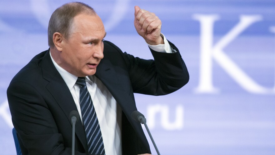 Russian President Vladimir Putin delivers his annual year-end news conference in Moscow on Thursday.