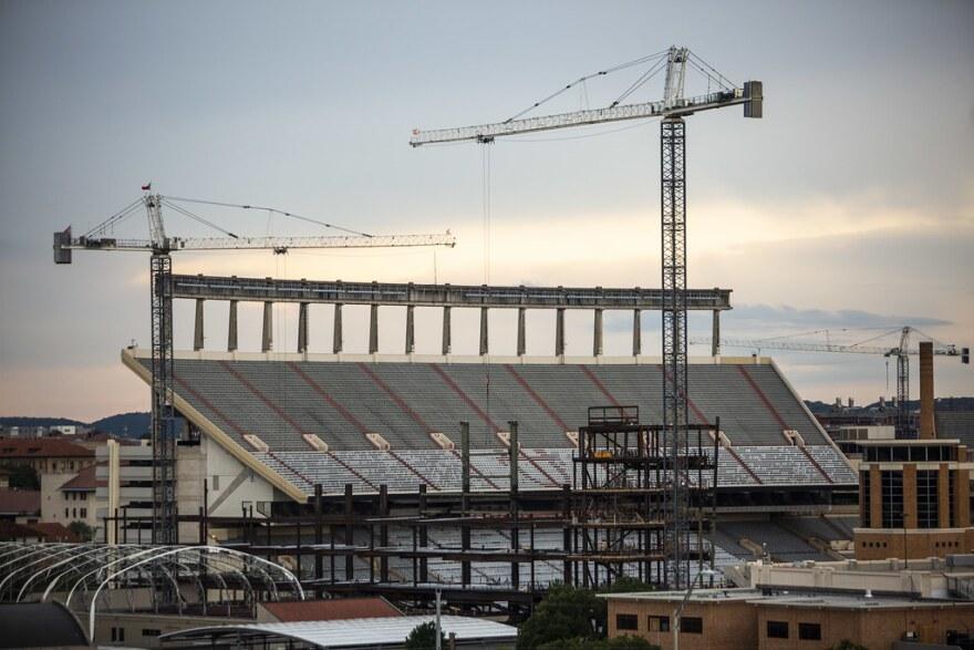 UT Austin's DKR-Texas Memorial Stadium undergoing renovation work on May 28.