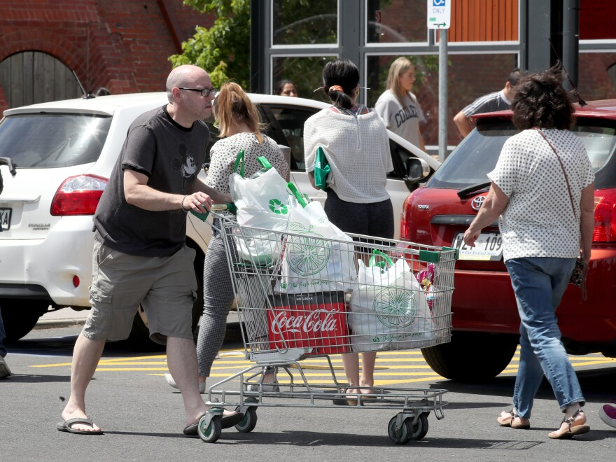 People going shopping for in Adelaide, Australia ahead of a mandatory six-day lockdown to prevent the spread of the coronavirus. South Australian premier Steven Marshall said the new restrictions will come into effect at midnight Thursday local time.