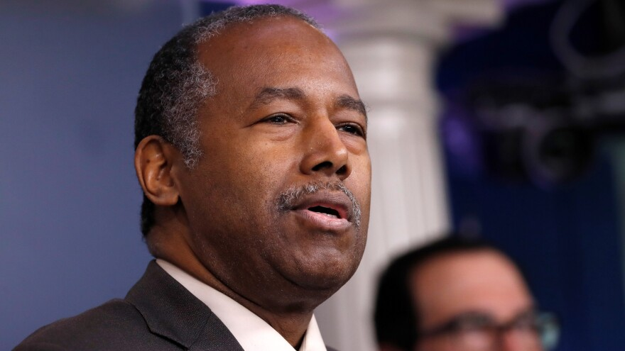 Housing and Urban Development Secretary Ben Carson is pictured at the White House on March 14, 2020.