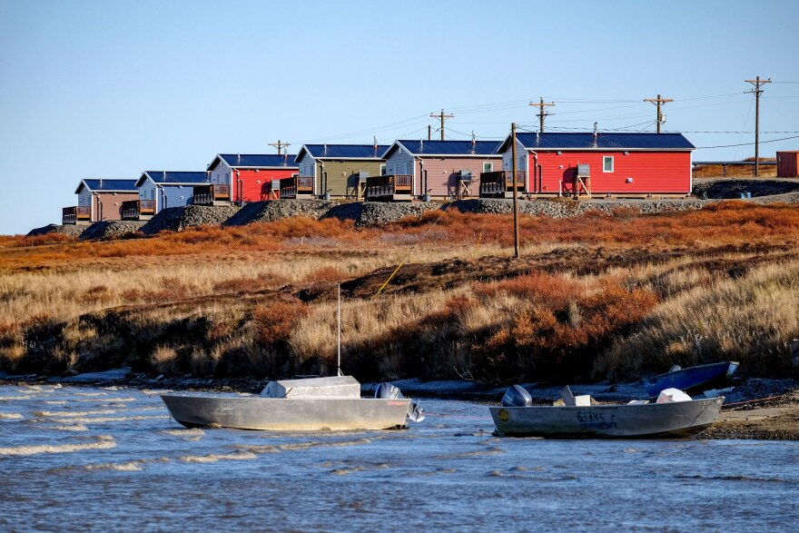 Some of Newtok's residents moved into 21 newly constructed homes in Mertarvik, Alaska, in October 2019.