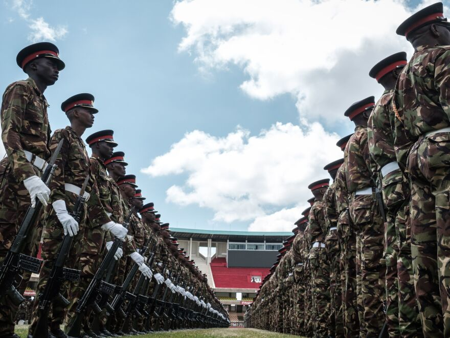 Kenyan army soldiers perform during the rehearsal of the inauguration ceremony of the President at the Moi International Sports Center's Kasarani Stadium in Nairobi on Monday.