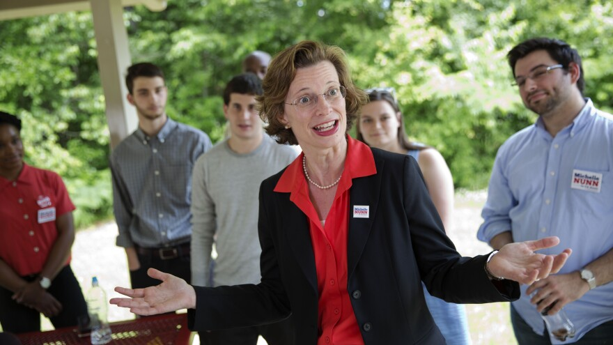 Georgia Democratic Senate candidate Michelle Nunn greets campaign volunteers at South DeKalb Community Achievement Center in Decatur, Ga., on May 13. The U.S. Senate race in Georgia is one of the most closely watched in the country.