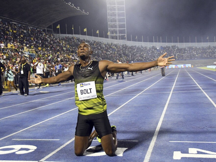 "Jamaica's Usain Bolt celebrates after winning the ""Salute to a Legend "" 100 meters during the Racers Grand Prix n Kingston, Jamaica, Saturday, June 10, 2017. Bolt is set to run his final 100 meters at the World Championships on Saturday in London."