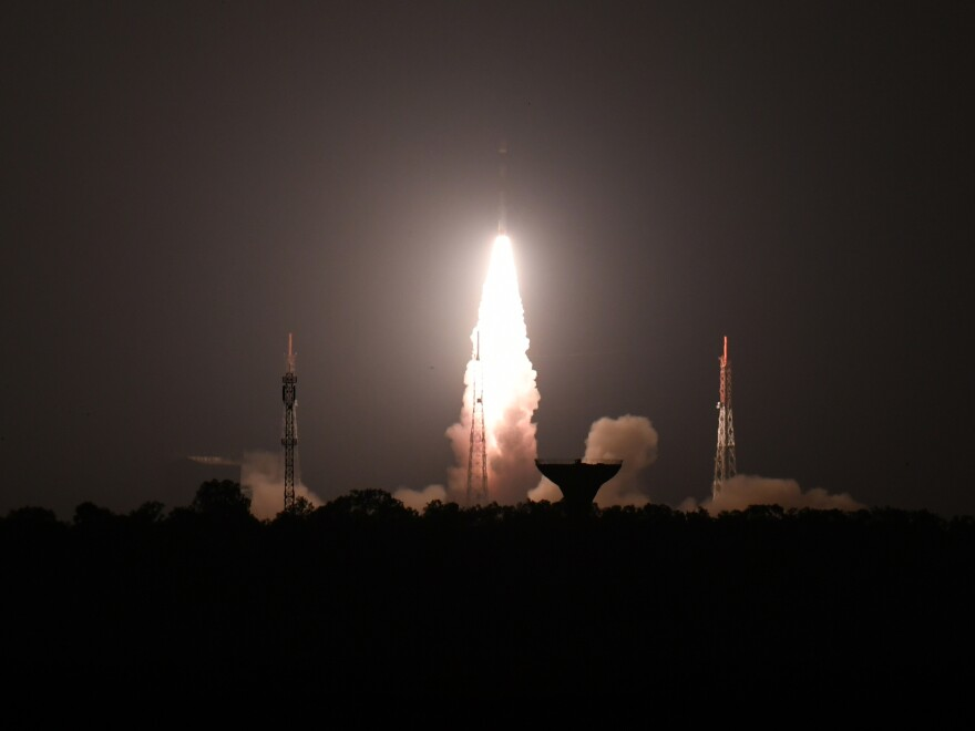 Experts believe the target of Wednesday's anti-satellite test was India's Microsat-R, which is shown here launching in January.