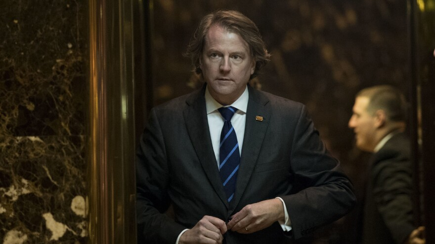 Don McGahn, general counsel for the Trump transition team and now chosen to serve as White House counsel, walks through the lobby at Trump Tower on Nov. 15 in New York City.