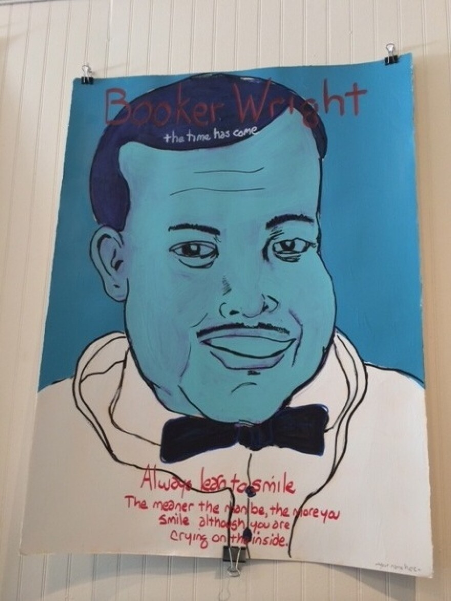 A portrait of Booker Wright by artist Tim Kerr.