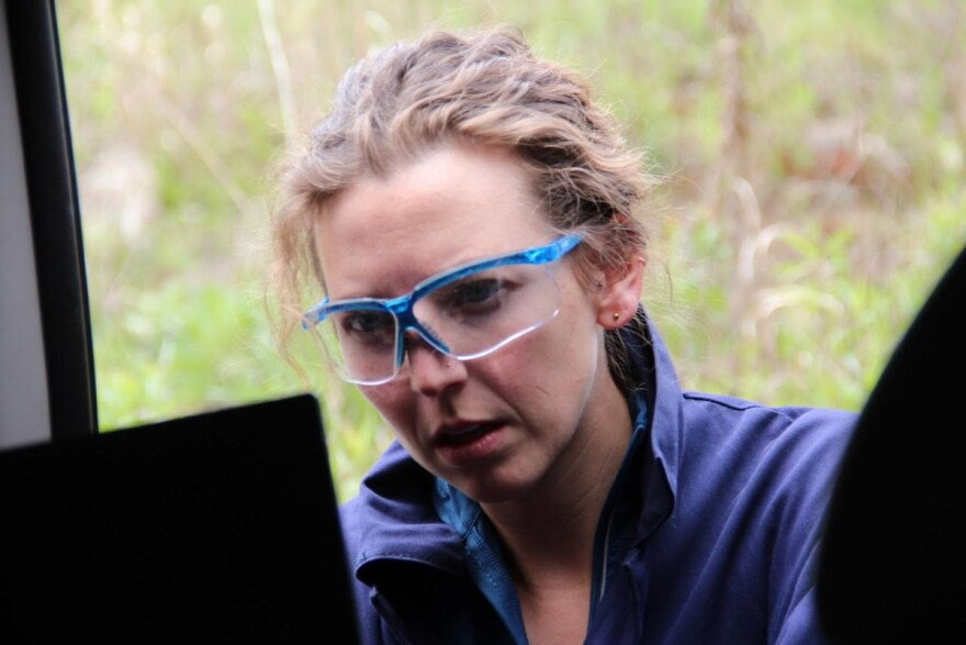 Carnegie Mellon researcher Aja Ellis monitors air emissions near a Marcellus Shale gas well in Wyoming County, Pennsylvania.