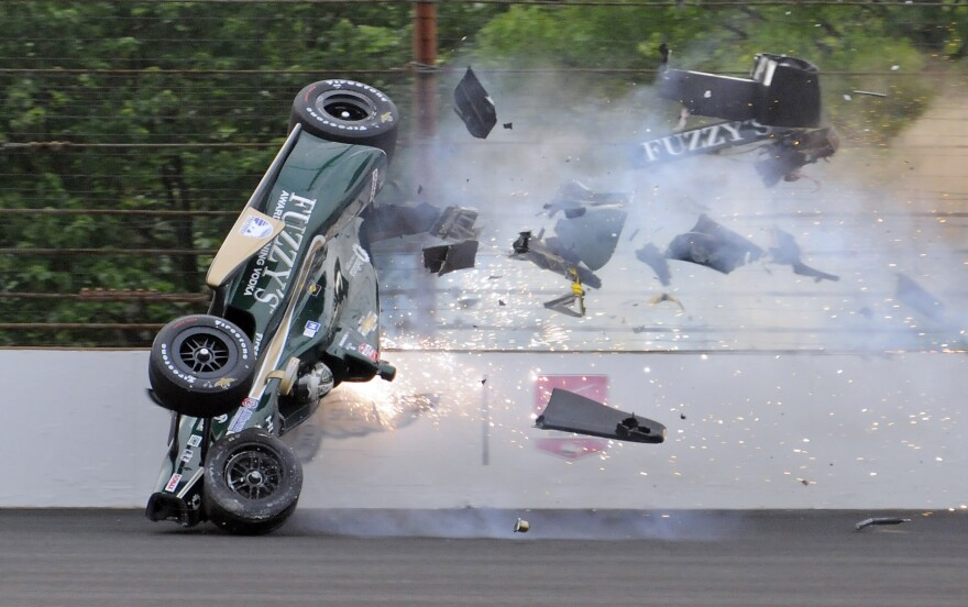 In the five days of practice leading up to the Indy 500 qualifications, Ed Carpenter is the third driver to have his car flip upside down. Carpenter emerged from the crash unharmed.
