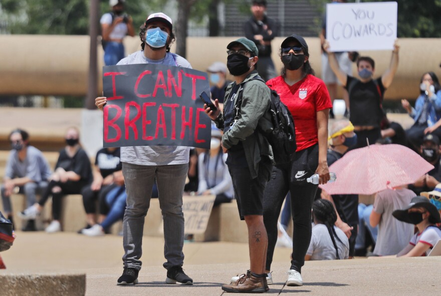 Protesters gather in front of Dallas City Hall on June 2.
