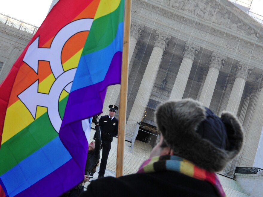 A pro-gay-marriage protester stands in front of the Supreme Court on Tuesday, the first of two days of oral arguments on challenges to laws that limit the definition of marriage to unions of a man and a woman.<strong></strong>