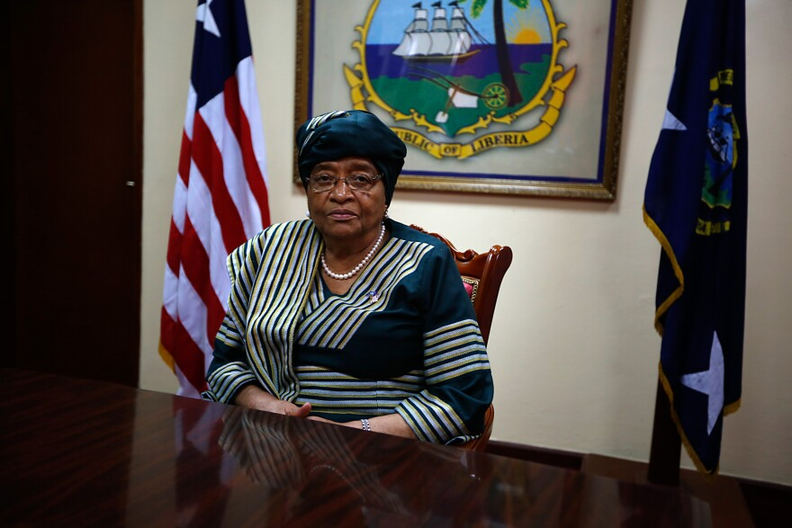 Liberian president Ellen Johnson-Sirleaf sits for a portrait before an NPR interview at the Ministry of Foreign Affairs in Monrovia.
