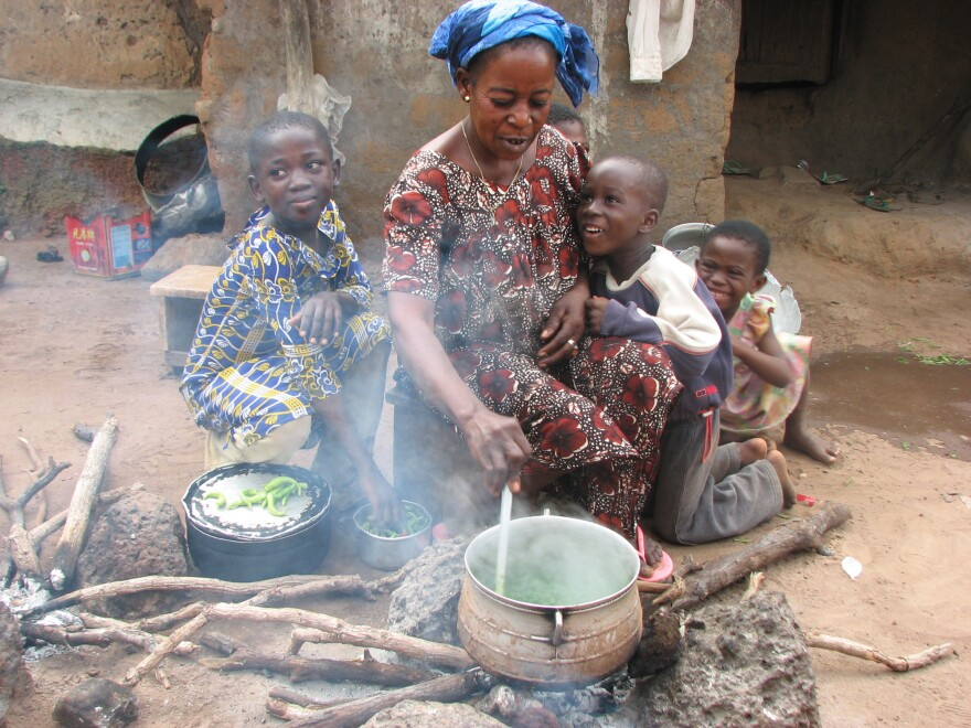 Banda resident Ama Georgina cooks a soup made from cassava leaves, a main source of nutrition during the hungry season.