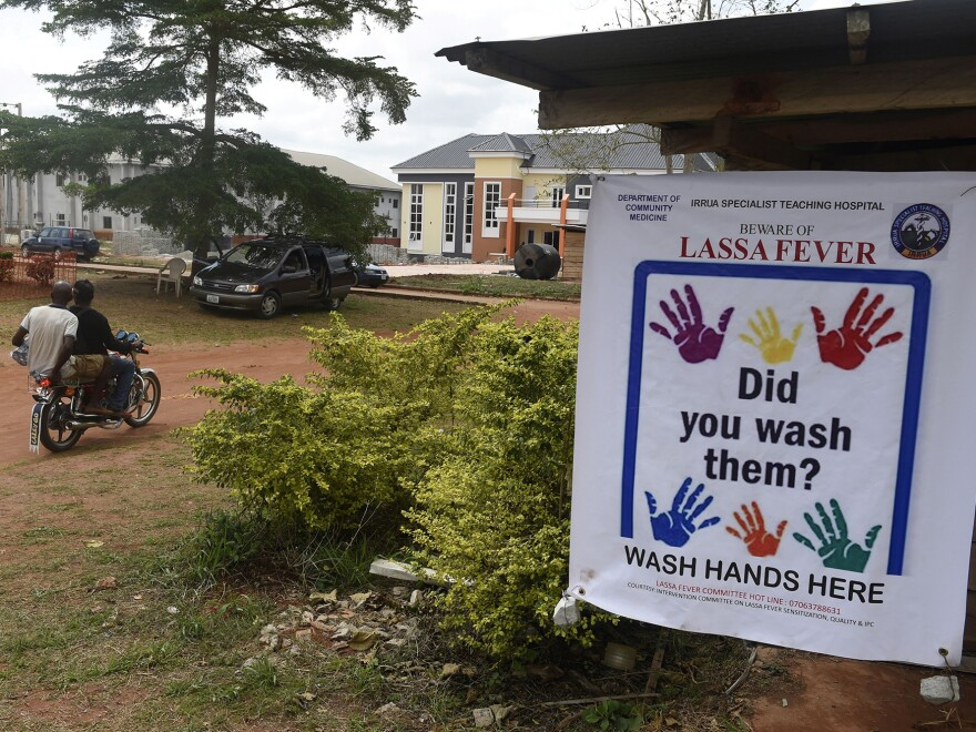 This banner is displayed at the Institute of Lassa Fever Research and Control in Irrua Specialist Teaching Hospital in Irrua, Edo State, midwest Nigeria.