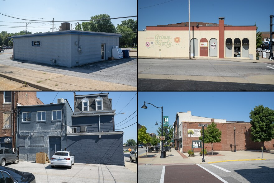 Mural locations (clockwise from top left) include Complete Supplements, Grimm and Gorly, Turned Treasure Galleries and 128 East Main. The Belleville City Council approved these locations by a vote of 12-1 on July 15.