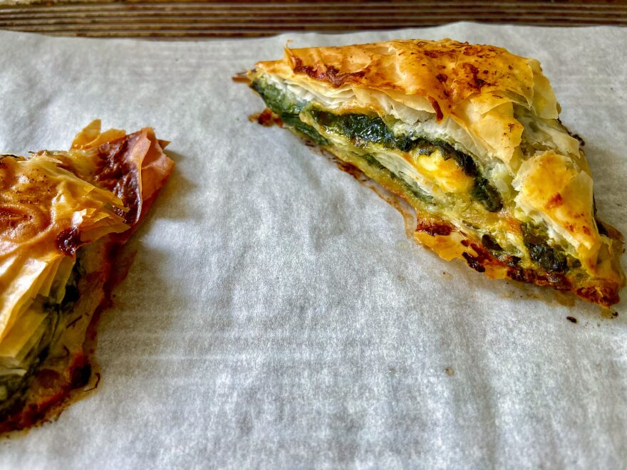 Spinach and feta triangles. (Kathy Gunst/Here & Now)