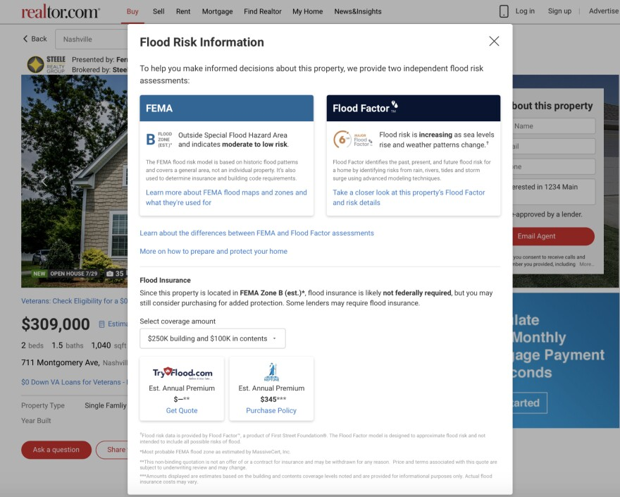 Home listings on Realtor.com now include both federal and private flood risk information. Federal flood maps are primarily used to determine the cost of flood insurance and do not account for the future effects of climate change.