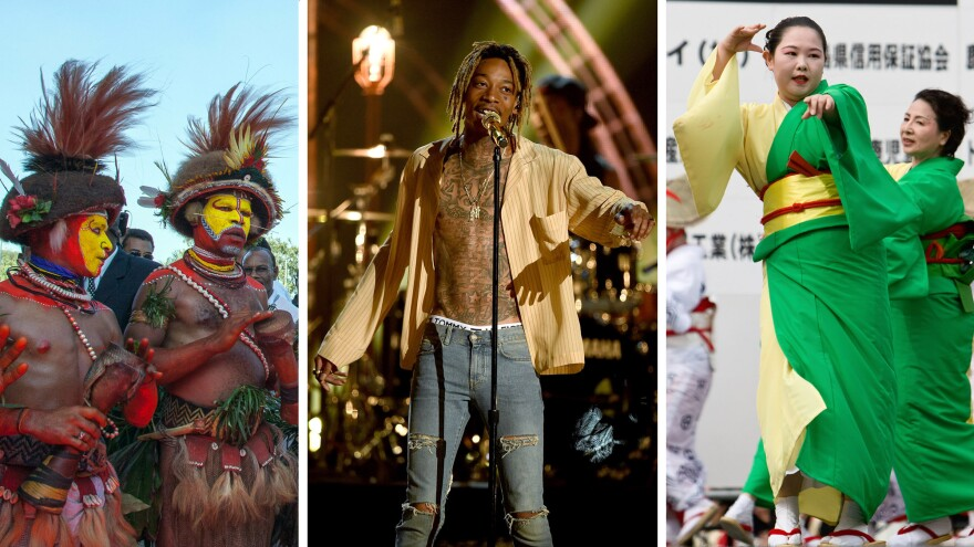 Even if you don't speak their language, you can likely communicate with these musicians through song and dance: Men from Papua New Guinea; Wiz Khalifa at the 2015 Billboard Music Awards; and Japanese dancers at the Daihanya Festival in Kagoshima City.