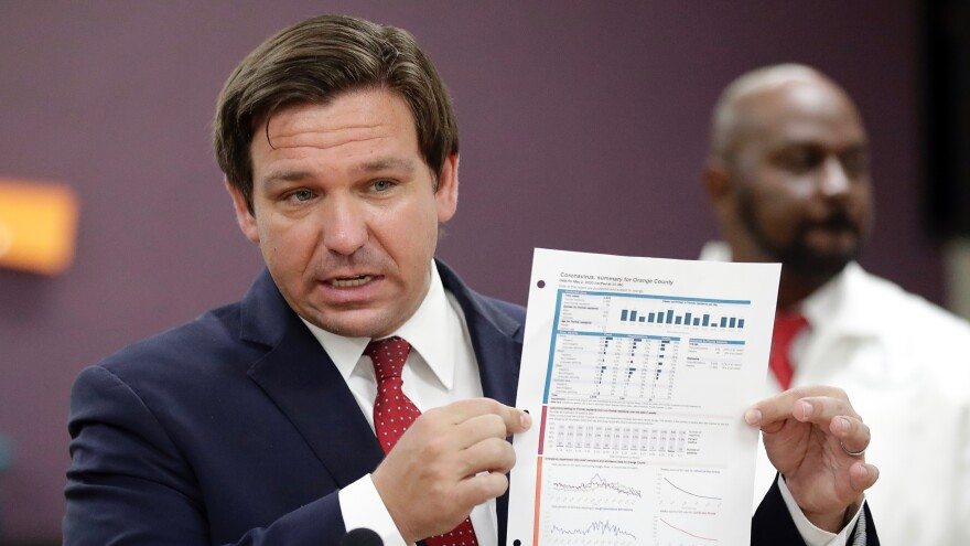 Florida Gov. Ron DeSantis, holds up a graph concerning COVID-19 cases in Florida as he speaks about opening businesses.