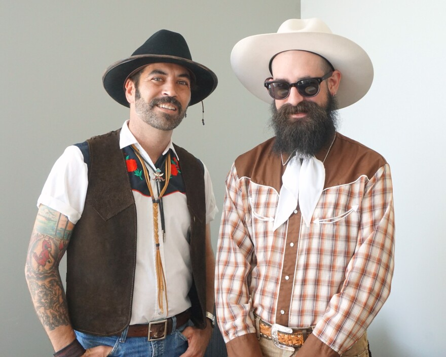 Western Wear Night enthusiasts Lucas Hanner (at left) and Ryan Koenig joined Thursday's program.