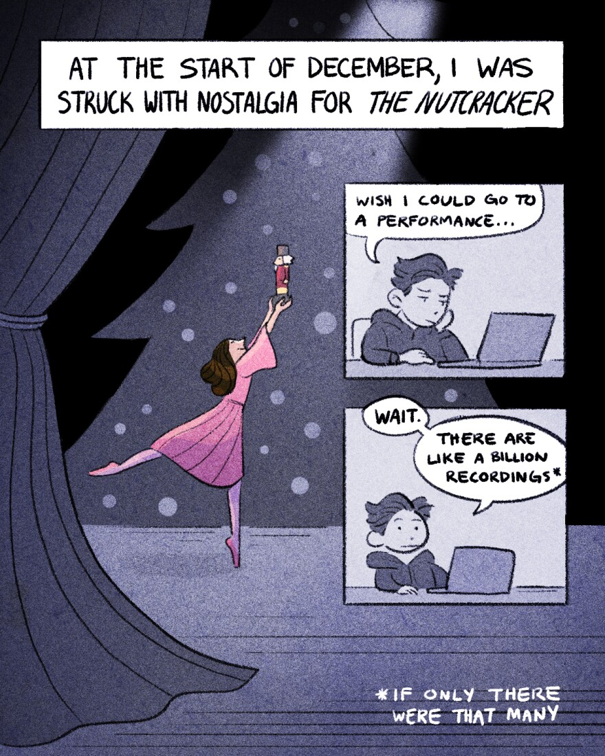 "Comic. A scene of a ballet dancer portraying Clara holds up a toy nutcracker on stage. At the start of December, I was struck by nostalgia for The Nutcracker. Kaz looks at a laptop and says ""wish I could go to a performance....""""Wait. There are like a billion recordings.""* *If only there were that many"