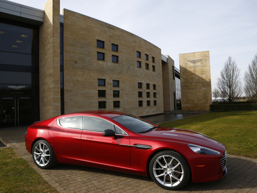 An Aston Martin Rapide S, one of the models affected by the recall, is displayed outside the Aston Martin production facility in Gaydon, England, in February 2013.