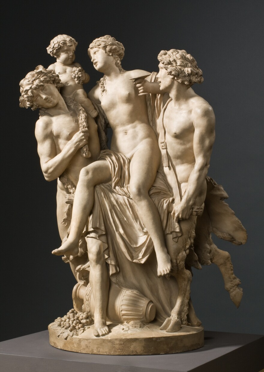 French sculptor Claude Michel (called Clodion) made this terracotta sculpture, <em>Bacchante Supported by Bacchus and a Faun,</em> in 1795.
