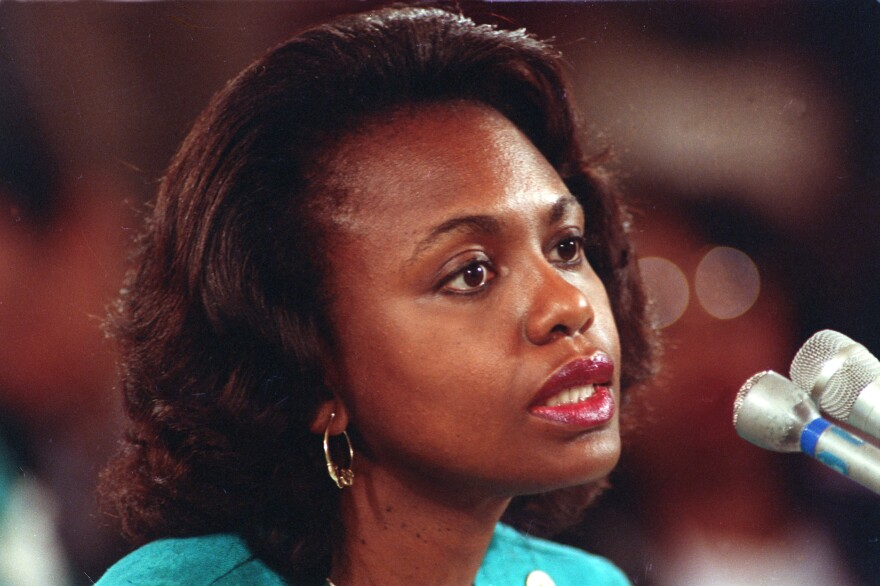 """University of Oklahoma law professor Anita Hill testifies before the Senate Judiciary Committee on the nomination of Clarence Thomas to the Supreme Court on Capitol Hill on Oct. 11, 1991. Hill testified that she was """"embarrassed and humiliated"""" by unwanted, sexually explicit comments made by Thomas when she worked for him."""