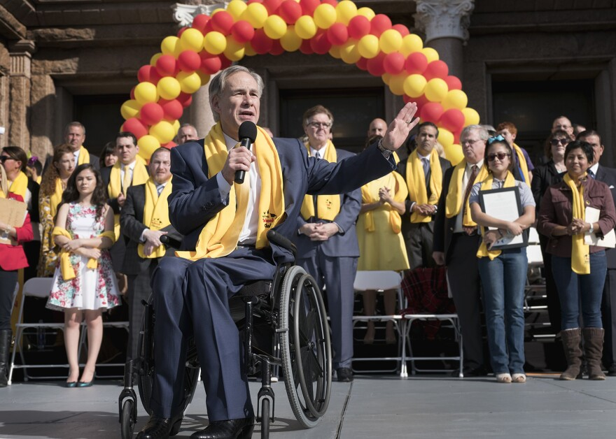 Gov. Greg Abbott speaks during a rally at the Capitol for school choice January 24, 2017.
