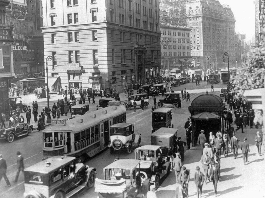 Times Square near 42nd Street in New York City, in the 1920s.