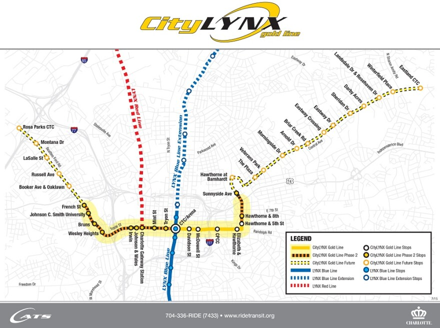 Map shows CATS plans for rail lines in Charlotte, including the Gold Line, which is under construction.