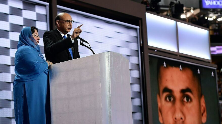 Khizr Khan, whose son was killed in Iraq, speaks directly to Donald Trump at the Democratic National Convention in Philadelphia on Thursday. His wife Ghazala Khan stands beside him.