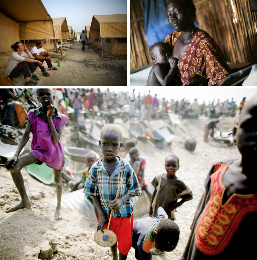 "People stand in line for food at the U.N. Protection of Civilians site near Bentiu, South Sudan. Over 120,000 people live at the site, the biggest in the country. <em>From the story ""<a href=""http://www.npr.org/sections/goatsandsoda/2016/05/25/478251493/five-days-and-five-nights-with-doctors-without-borders"" target=""_blank"">Five Days And Five Nights With Doctors Without Borders</a>,"" 2016.</em>"