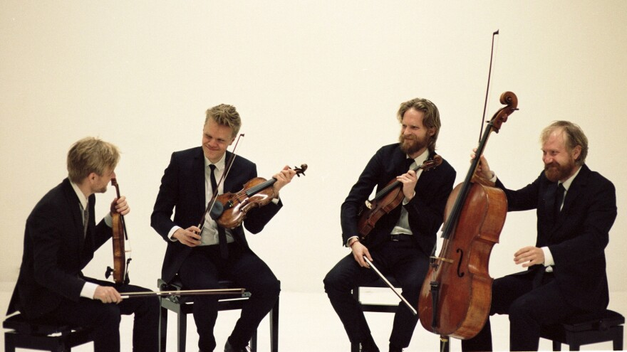 The Danish String Quartet's new release features British and Danish composers. Violinist Frederik Øland is second from the left; violist Asbjørn Nørgaard is second from the right.