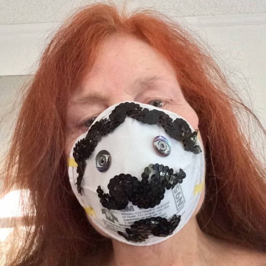 Fayette Hauser in her mask