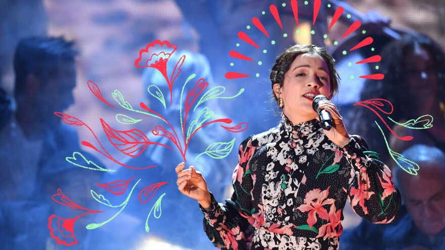 Natalia Lafourcade performs at the Latin Grammy Awards in 2017.