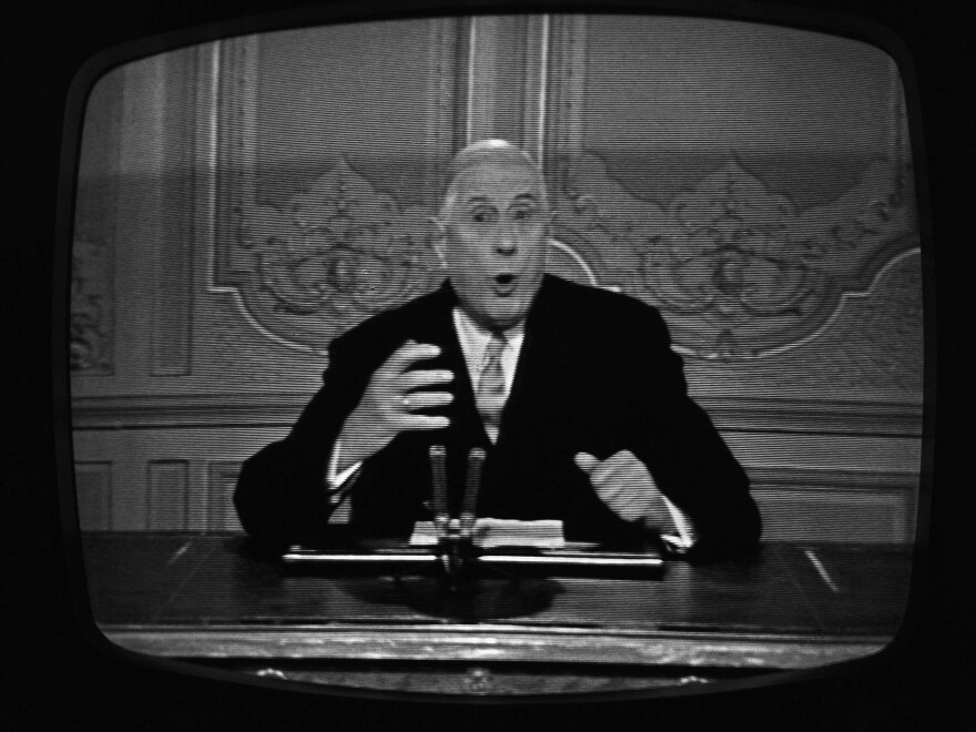President Charles de Gaulle of France delivered his speech to the French nation on television in Paris, May 24, 1968.