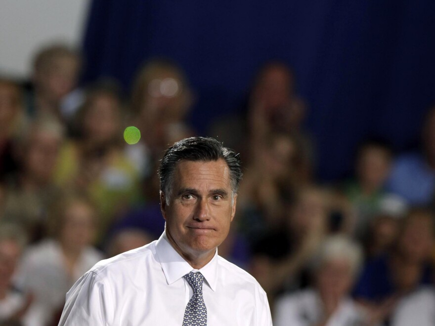 Mitt Romney speaks at a campaign rally Wednesday in Bowling Green, Ohio.