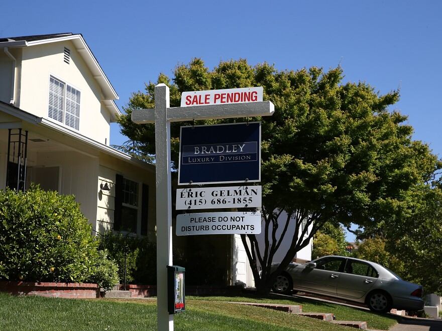 "A ""sale pending"" sign in San Anselmo, Calif., earlier this year."