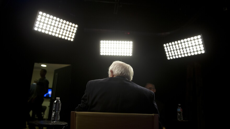 Sen. Bernie Sanders sits for an interview with The Associated Press Monday.