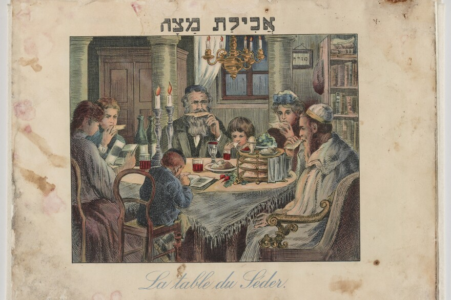 "This colorfully illustrated French and Hebrew Passover Haggadah was published in Vienna in 1930. Caption on the image: ""Eating Matzah."" This restored document is part of an exhibit at the National Archives in Washington, D.C., that opens Nov. 8."
