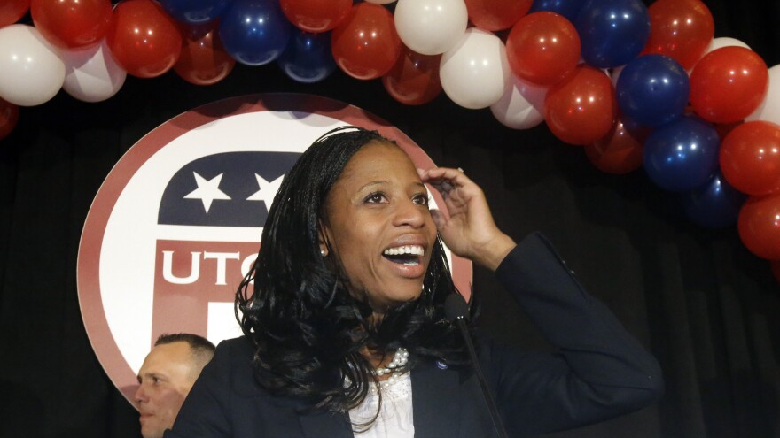 Republican Mia Love celebrates with her supporters after winning the race for Utah's 4th Congressional District on Tuesday.