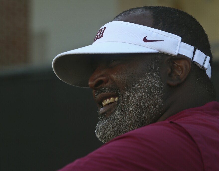 Florida State defensive line coach Odell Haggins before an NCAA college football preseason practice Sunday, Aug. 4, 2019, in Tallahassee, Fla. Florida State's first game will be in Jacksonville, Fla., Aug. 31, 2019 against Boise State.