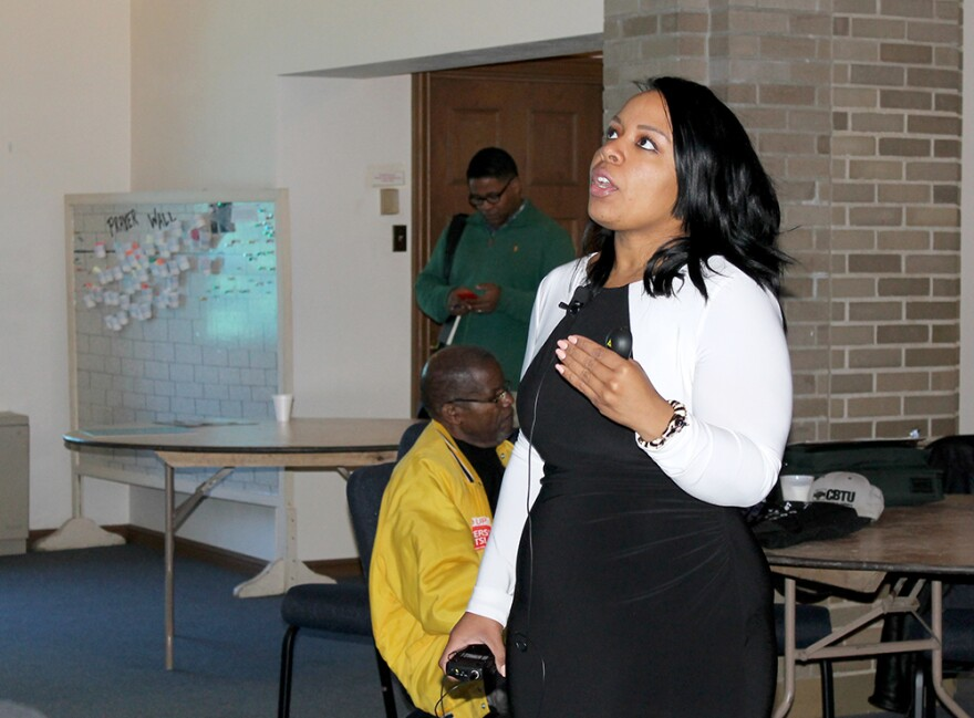Political consultant Michele Watley shares her expertise in strategic messaging on Saturday, April 4, 2015.