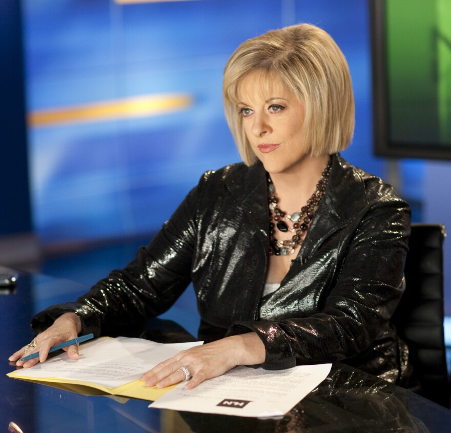 The movie <em>Gone Girl</em> fictionalizes and satirizes cable news star Nancy Grace (above). Grace, host of a true crimes and current affairs show on HLN, says she was flattered.