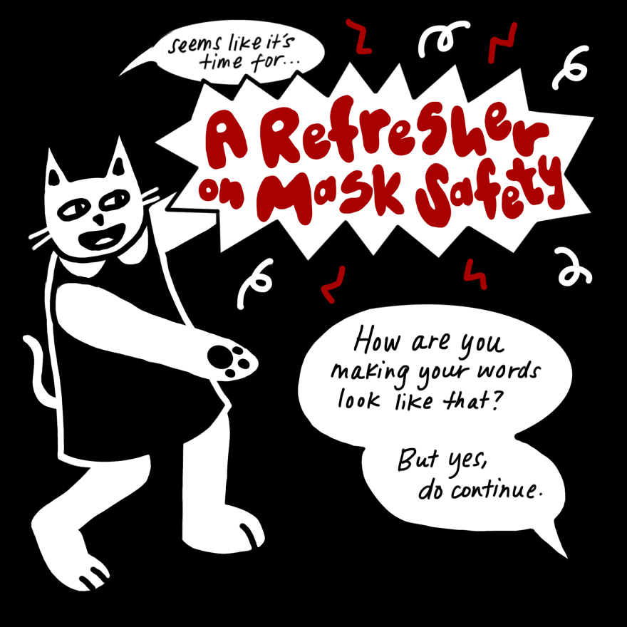 "The other cat jumps to its feet and poses, arms out, ""Seems like it's time for a refresher on mask safety!"" The words ""refresher for mask safety"" are in a red bubble font with streamers popping out around it. ""How are you making your words look like that?"" asks the first cat."