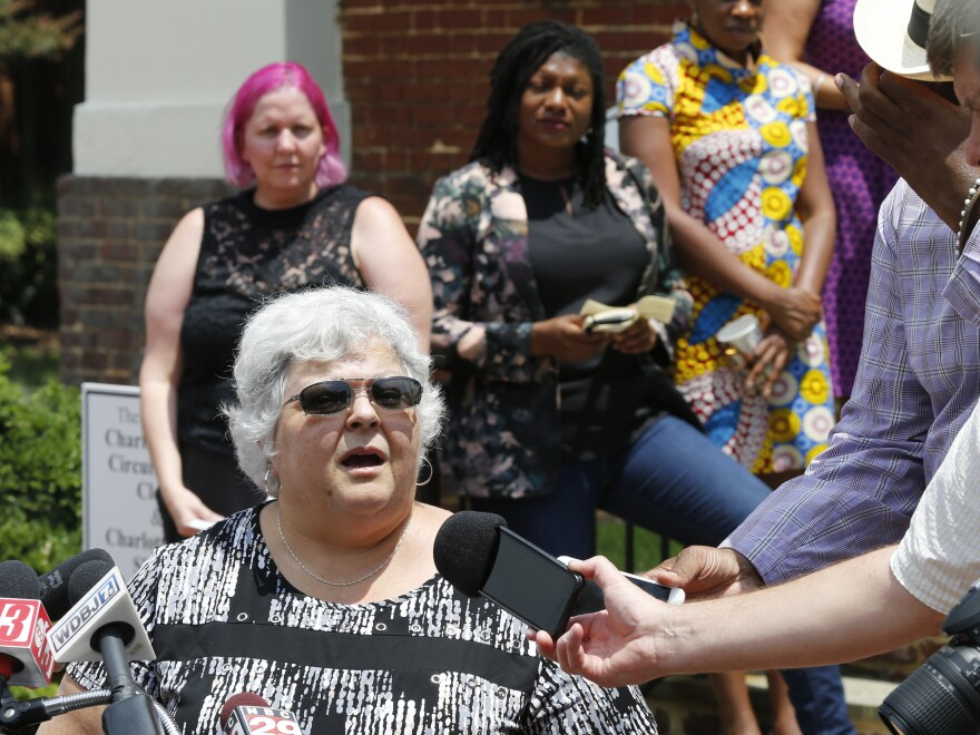 Susan Bro — the mother of Heather Heyer, who was killed during the Unite the Right rally in 2017 — speaks to reporters after the sentencing of James Alex Fields Jr. in Charlottesville on July 15.