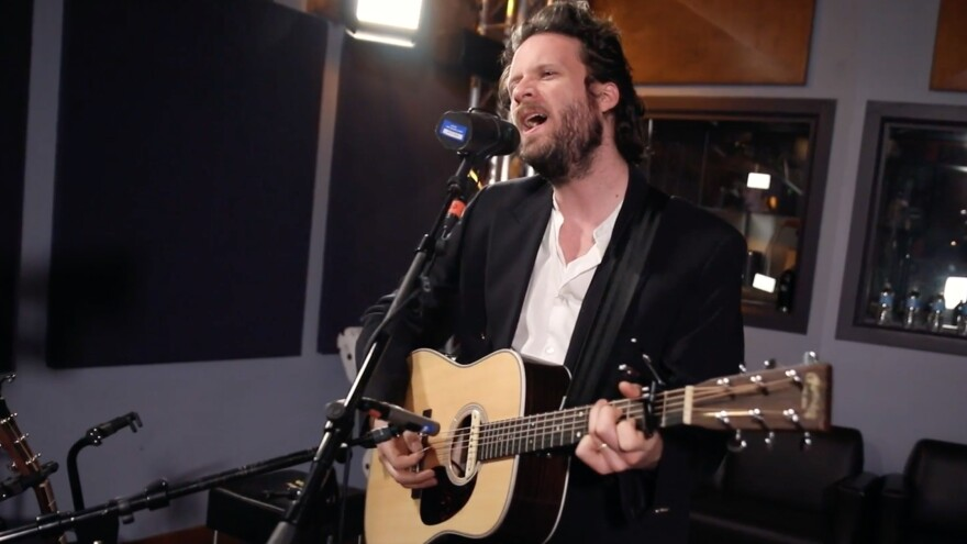 Father John Misty inside the World Cafe Performance Studio
