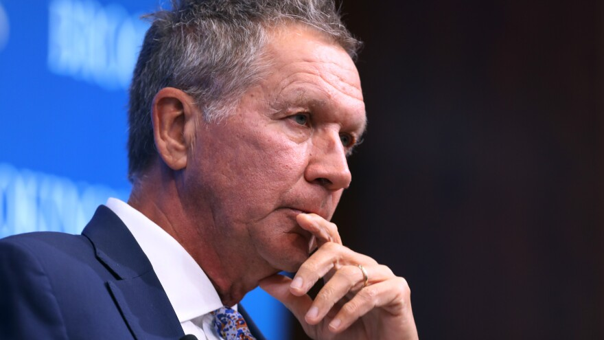 "Ohio Gov. John Kasich, pictured in October 2018 in Washington, D.C., tells NPR that Trump's refusal to concede is ""absurd."""