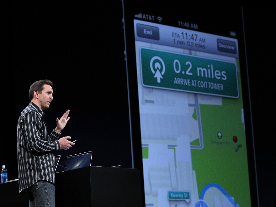 Scott Forstall demonstrates the new map application featured on iOS 6 during the 2012 Apple WWDC keynote address in San Francisco in June. Apple announced in October that he will leave the company.